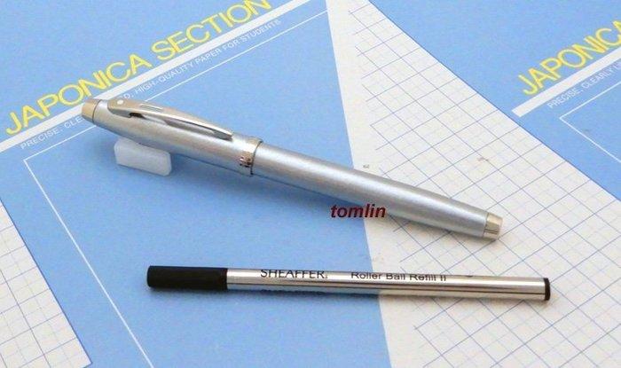 停產限量最後數支,特價出清:美國西華 Sheaffer不鏽鋼細刷紋淡金鋼珠筆,新品現貨供應實拍。_