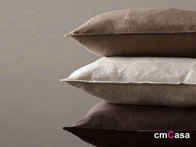 = cmCasa = [4786]北歐美式簡約設計 滾邊咖啡色系棉麻抱枕套 三色多尺寸新發行