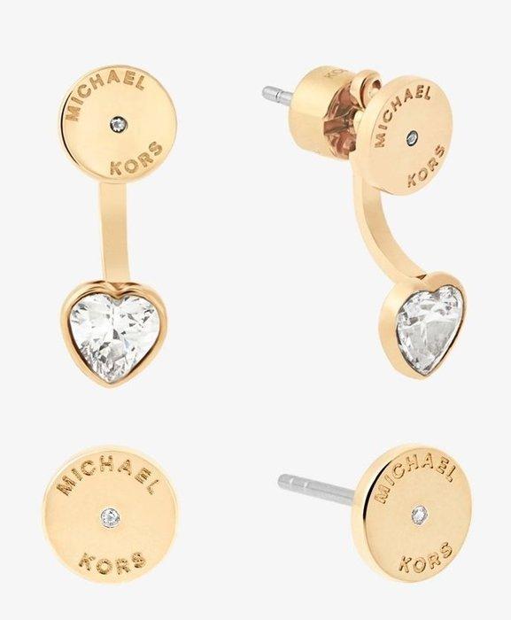 全新美國名牌 Michael Kors MK 金色兩用鑲鑽耳環,不鏽鋼與方晶鋯石,附禮盒,低價起標無底價!免運費!