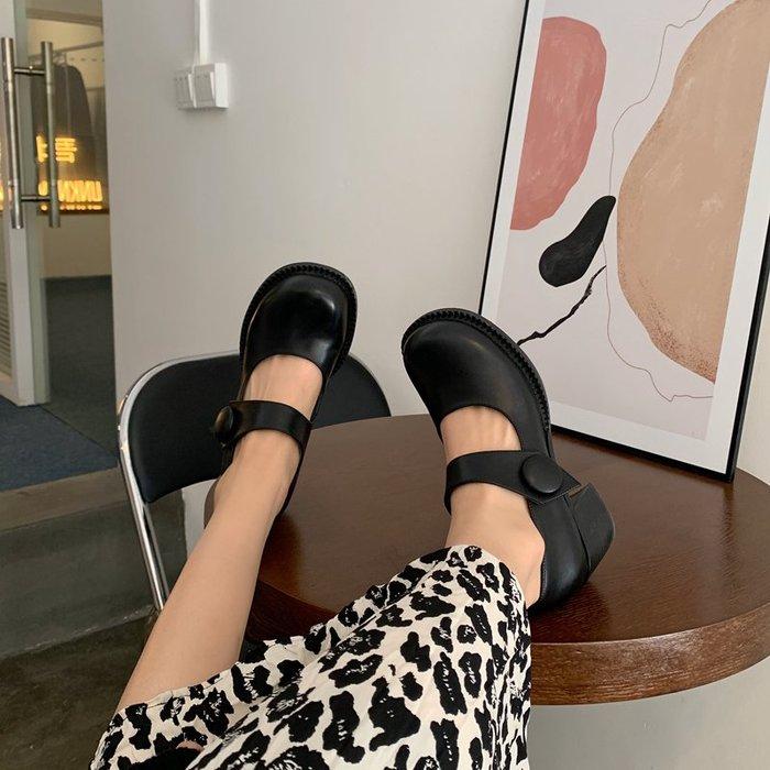 Love in Se韓國女鞋 Inking Pot現貨網紅款大頭鞋粗跟高跟女單鞋一字帶復古瑪麗珍鞋