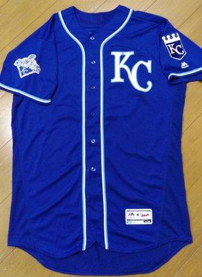 MLB大聯盟堪薩斯城皇家隊王建民藍色實戰球衣-附大聯盟認證-可以交換實戰球衣