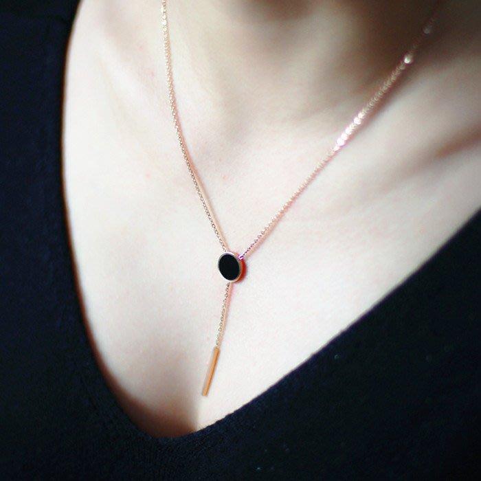 項鏈 流蘇長條 黑色圓點短款钛鋼項鏈 鎖骨鏈 —莎芭