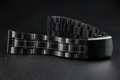 艾曼達精品~20mm黑色真空離子電鍍sea master 海馬風格不鏽鋼製錶帶