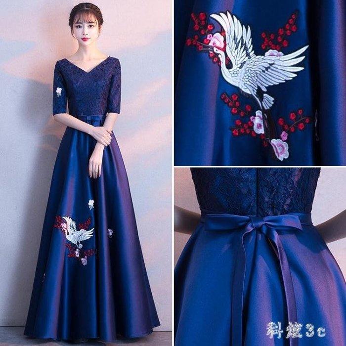 宴會晚禮服大碼新款高貴優雅長款顯瘦端莊大氣氣質名媛禮服長裙女 qf10910