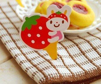 (甜心手作坊)草莓小兔蛋糕裝飾插卡 蛋糕插牌50個