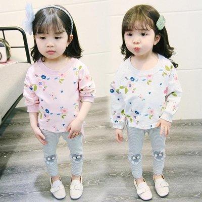 女童春裝套裝0小童兒童裝3歲2女寶寶1春秋洋氣衛衣兩件套