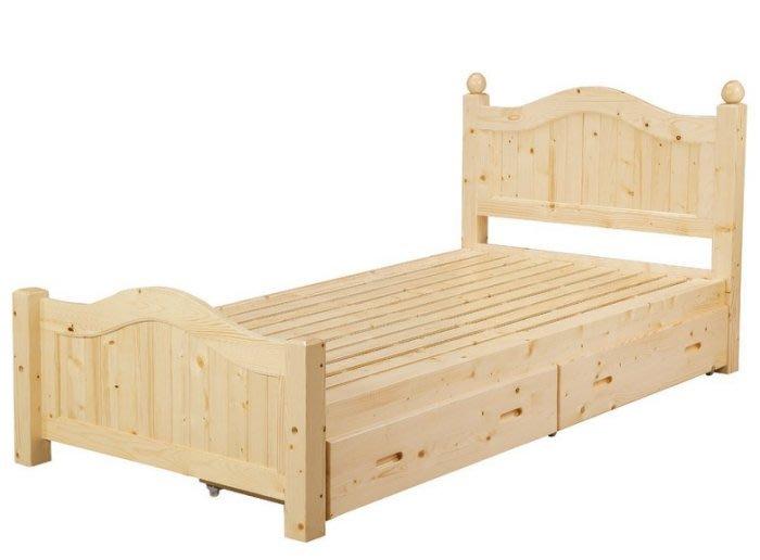 【DH】貨號B54-2名稱《經典》3.5尺松木單人床架(圖一)含雙抽屜.實木床板備有四分板.5尺雙人床可選主要地區免運費