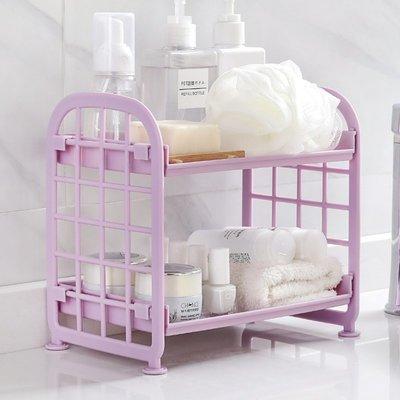 廚房寶!!!衛生間雙層置物架浴室化妝品收納架桌面塑料儲物架廚房臺面整理架