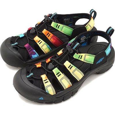 =CodE= KEEN NEWPORT RETRO SANDALS 編織彈性綁繩護趾防水包頭涼鞋(黑彩虹)1018822