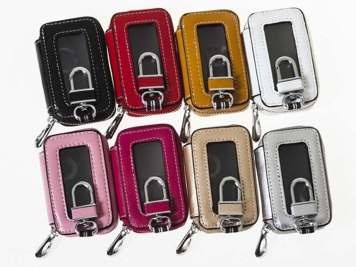 【幸福2次方】透明窗真皮零錢鑰匙包 皮革多功能零錢鑰匙套鑰匙圈 - 白 / 金 / 銀