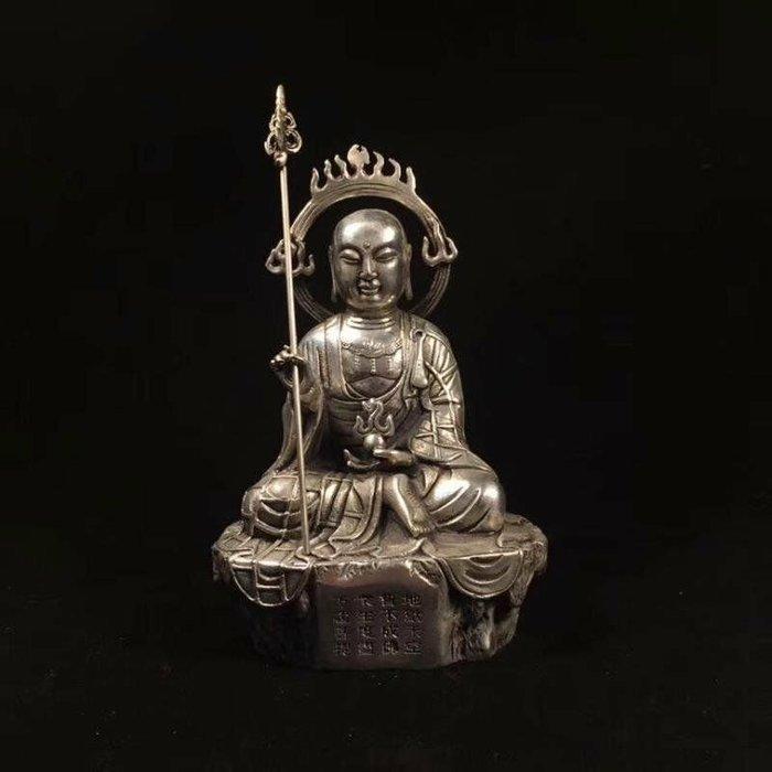 【藏寶古物】藏傳老佛像‼ (地藏菩薩)佛像~摧毀一切邪惡的業障,立體浮雕工藝,紋飾清晰,法相寂靜端莊,殊妙莊嚴,威嚴沉穩大氣~