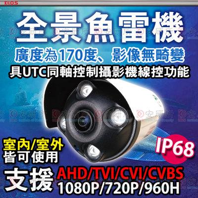 安研所 1080P 全景 超廣角 170度 AHD 防水 IP68 紅外線 攝影機 適 4路 5MP DVR 監視器