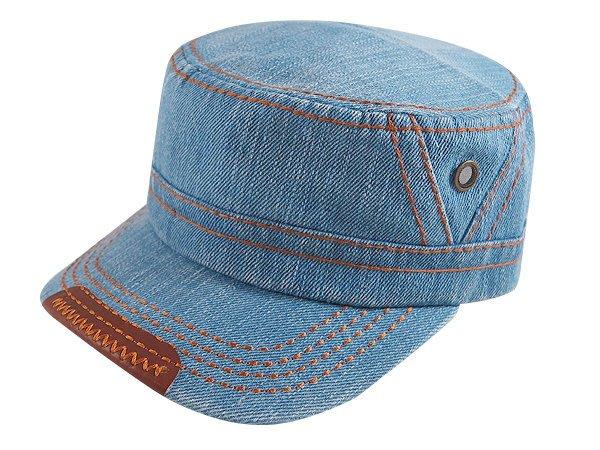 【二鹿帽飾】男帽女帽 -新潮流時尚新風格 /牛仔水洗布 /硬挺 軍帽 /淺藍色