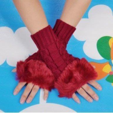 韓版仿兔毛針織手套 毛毛露指手套 時尚穿搭配件保暖毛線手套(紅色)-艾發現