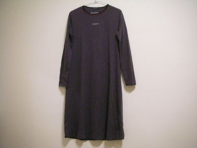 全新 HANG TEN 100 % COTTON 圓領洋裝式中厚彈性棉女長袖連身休閒裙 [ 灰黑深紫色 ]