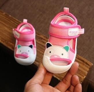 夏款1-2歲嬰兒涼鞋男童包頭防踢涼鞋女寶寶學步鞋軟底防滑幼兒鞋
