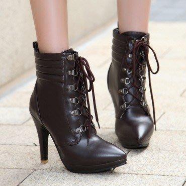 yes99buy加盟-秋冬新款女鞋 純色系帶높은超高跟短筒女靴