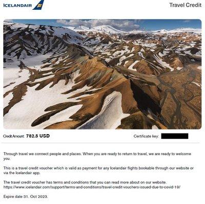 冰島航空 Icelandair 抵用卷 積分 代金卷 Travel Credit Voucher (782.5 USD)