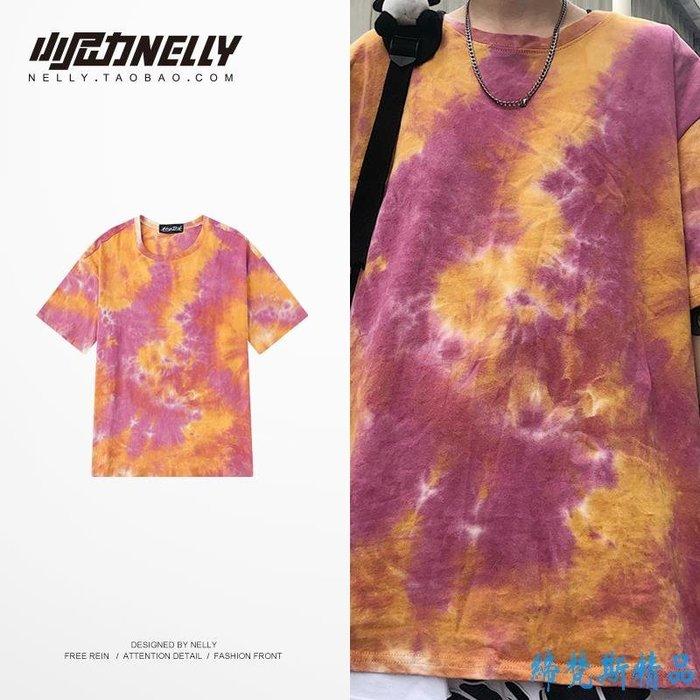 夏男女韓版寬松圓領體恤衫抽象迷彩短袖T恤扎染個性風