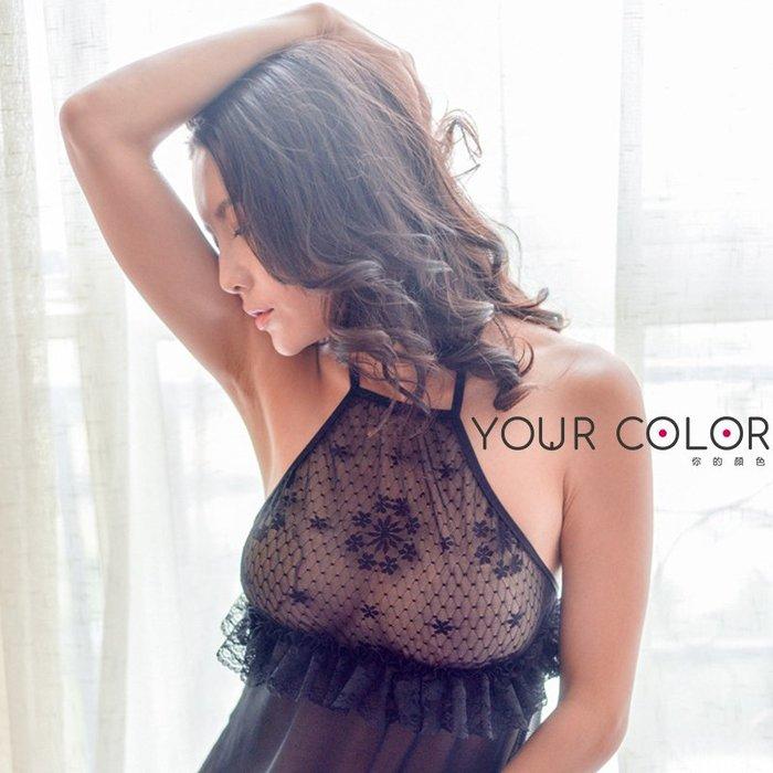花邊睡裙/黑|嚴選透紗綁帶睡裙|9B3|YourColor 你的顏色