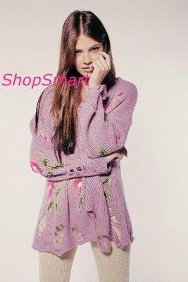 WILDFOX 台北ShopSmart直營店 LITTLE EDIE LENNON SWEATER花朵薰衣草紫刷破長袖毛衣 angelababy款