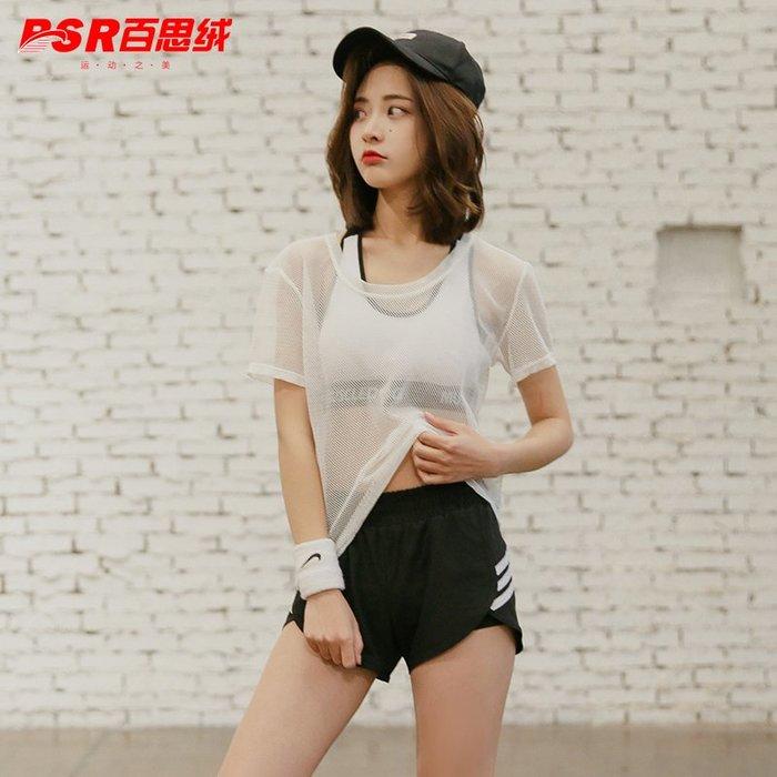 預售款-LKQJD-韓國夏季瑜伽服三件套裝女健身房跑步假兩件運動短褲背心顯瘦罩衫