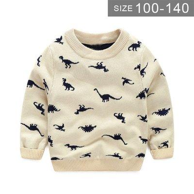 男童恐龍針織衫。ROUROU童裝。春秋男童中小童恐龍針織上衣 長袖T恤 0131-473