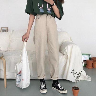 春季女裝韓版寬鬆顯瘦百搭直筒褲牛仔褲高...