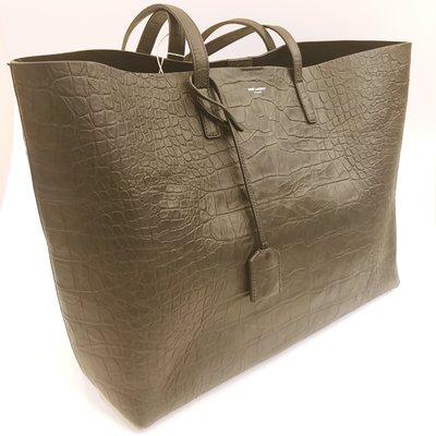 【RECOVER 名品二手】SAINT LAURENT 牛皮壓鱷魚紋購物袋 . 100% YSL 真品 .