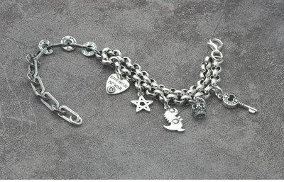 (顯示價非活動價)EOS 時尚精品 925純銀 超可愛日版跳跳龍百搭手鏈 手鐲腳鍊手鐲吊墬飾品銀飾珠寶精品泰銀古銀