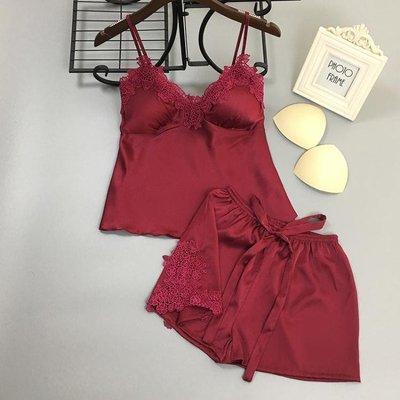 女夏韓版睡衣性感蕾絲V領真絲綢吊帶短褲兩件套薄款 帶胸墊套裝