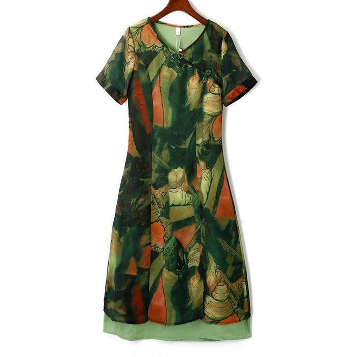 [C.M.平價精品館]M零碼特價/旗袍領典雅復古印花短袖洋裝