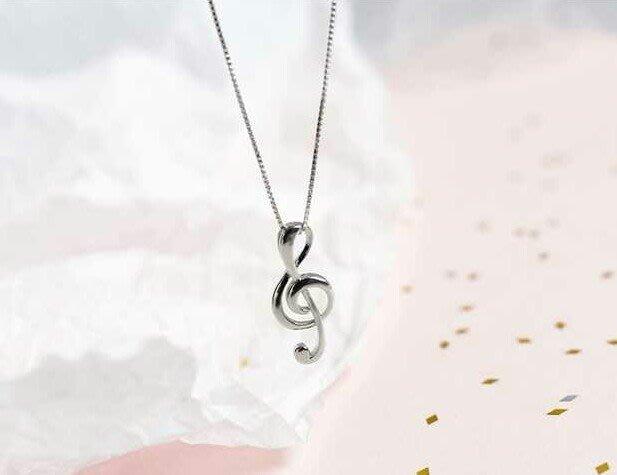 愛的旋律【音符◎純銀項鍊】925純銀 Melody 音符旋律 純銀項鍊 銀飾 純銀飾品 贈禮盒 保養布 一路向北