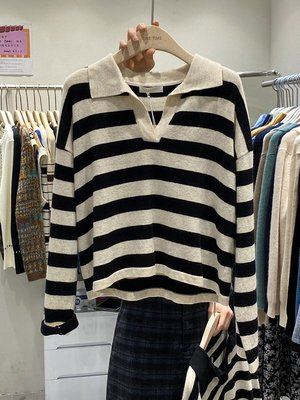 ONE TIME韓國2020秋季新款寬松套頭上衣女時尚保羅領條紋針織衫女