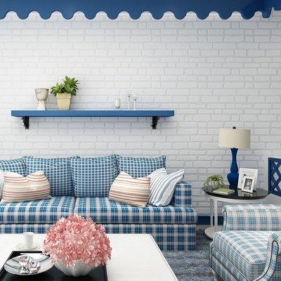 簡約時尚現代仿磚紋3D立體浮雕環保無紡布牆紙客廳臥室背景牆