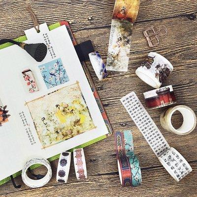 手賬用品 膠紙 便利貼 尚派日本和紙膠帶 原創春風水彩手帳膠帶相冊日記裝飾diy彩色膠帶