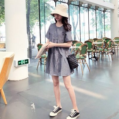 ❤Princess x Shop❤俏皮洋娃娃吊帶連衣裙DL19042522正韓國連線吊帶褲蕾絲一字領露肩