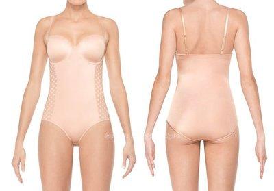 美國品牌SPANX~Bar復古圓點連身塑身衣/束身衣 肩帶可拆 #2256 ASSETS系列 膚色/黑色