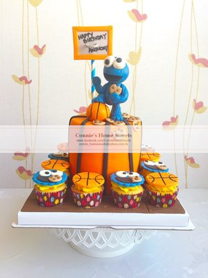 【Connie's Home Sweets】sesame street cookie monster birthday cake生日蛋糕專門店 手工蛋糕