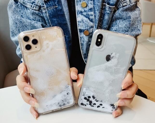 珍珠奶茶流沙殼 情侶殼 iPhone X/XS/XR/XS max 珍珠下雪流沙殼 液態殼  防摔 矽膠 軟殼 手機殼