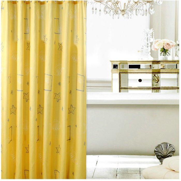 浴室簾浴簾防水防霉加厚隔斷簾滌綸黃色貝殼衛生間淋浴布免打孔