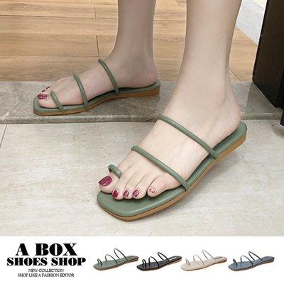 格子舖*【AWA8】1.5CM涼鞋 休閒百搭一字細帶 皮革平底方頭套指涼拖鞋 4色