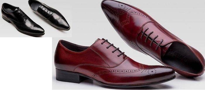 新品 頭等牛皮尖頭正裝皮鞋 系帶商務皮鞋男 雕花復古布洛克鞋