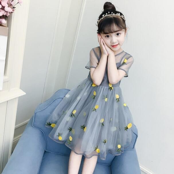 莎芭 韓版洋裝 夏季連身裙 4-15歲中大童童裝  短袖網紗兒童公主裙潮