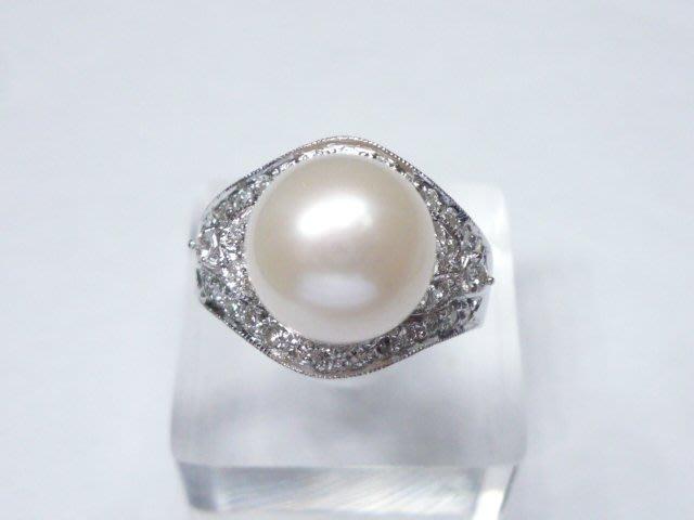 【連漢精品交流中心】 白色 天然珍珠 天然鑽石 白K金 造型 戒指