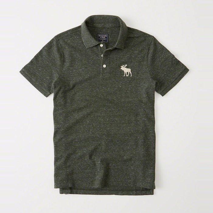 美國百分百【Abercrombie & Fitch】Polo衫 AF 短袖 麋鹿 男 素面 叢林綠 S號 I359