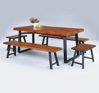 【南洋風休閒傢俱】餐桌椅系列-卡拉淺胡桃4.5尺淺胡桃實木長方桌椅組 餐桌椅組 一桌四椅SB327-1-3-4-5