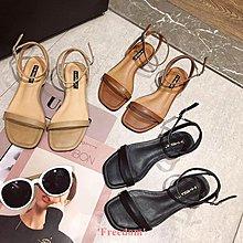 Freedom~女鞋韓國ins 一字細帶平底涼鞋女夏季簡約方頭露趾羅馬鞋OL百搭女鞋