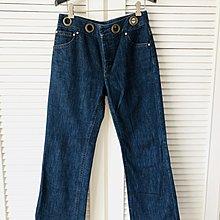 【RED VALENTINO 】大圓釦高腰復古藍色牛仔褲