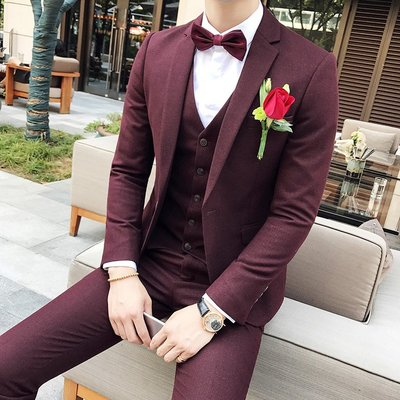 【時尚先生男裝】西服三件套男修身韓版西裝純色英倫休閑西服套裝新郎結婚禮服韓版西裝 修身西裝 整套西裝 西裝褲 西裝外套正式西裝A0030